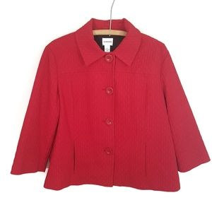 Chico's red quilted blazer coat size 2 (large)